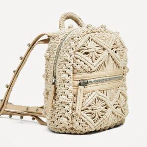 Zara cream macrame mini backpack